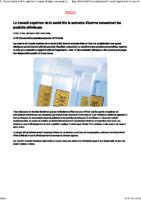 Le Conseil supérieur de la santé tire la sonnette d'alarme concernant les produits chimiques