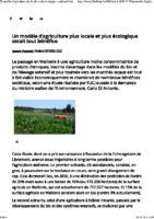 Un modèle d'agriculture plus locale et plus écologique serait tout bénéfice