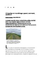 L'irrigation en maraîchage – quand comment combien